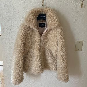 Obey faux shearling gold zip up jacket
